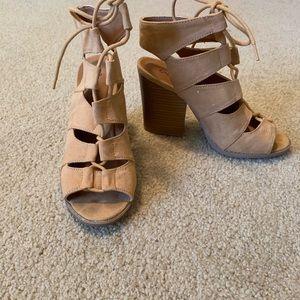 Qupid lace up heels
